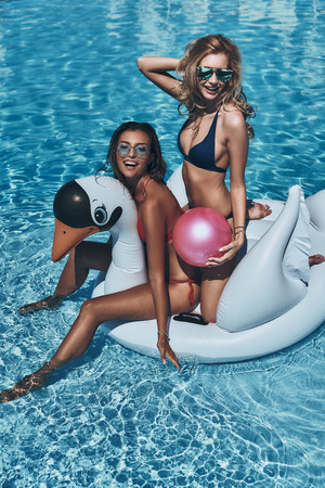 No care and no rush. Top view of two beautiful young women in bikini laughing while floating on a big inflatable swan Stock Photo