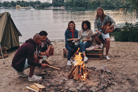 Getting away from it all... Group of young people in casual wear smiling while enjoying beach party near the campfire Banco de Imagens