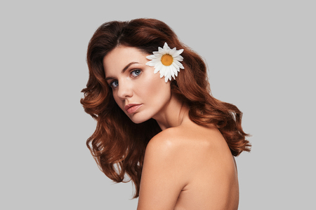 Irresistible girl. Attractive young woman looking at camera and keeping chamomile in hair while standing against grey background