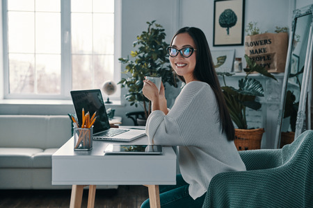New solution every day. Beautiful young woman smiling and looking at camera while sitting in home office