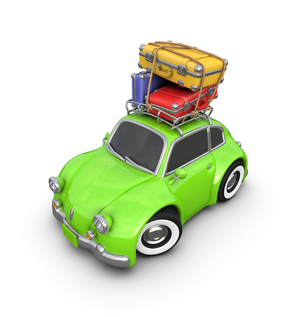 tripping: Travel in a small retro car. Stock Photo