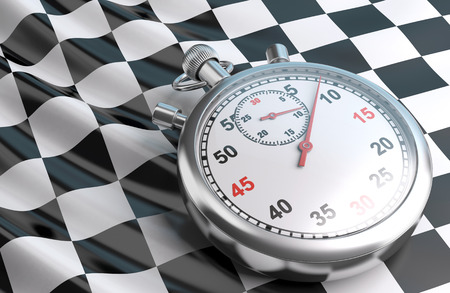 o'clock: Checkered flag and stopwatch.