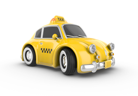 Retro yellow taxi car on a white background. Image contains clipping path. Stock Photo