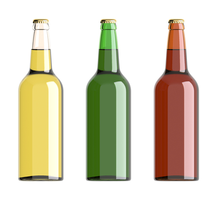 bottled beer: Bottled beer yellow, green and red colors. 3D rendering.