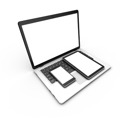 tilt views: Modern laptop, tablet and smartphone isolated on white. 3d rendering. Stock Photo