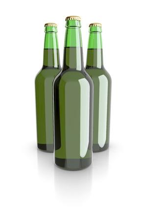 bottled beer: Bottled beer green colors. 3D rendering.