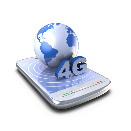 4G Connection. 3D smartphone and globe on a white background.