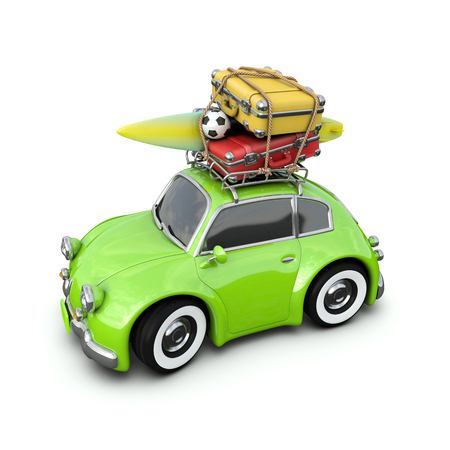 Retro car with Luggage and a surf Board in the journey, isolated on white. 3D rendering. Stock Photo
