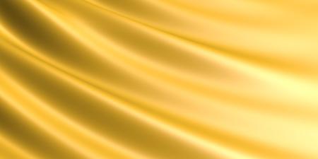 wavy fabric: Wavy Golden fabric background. Stock Photo
