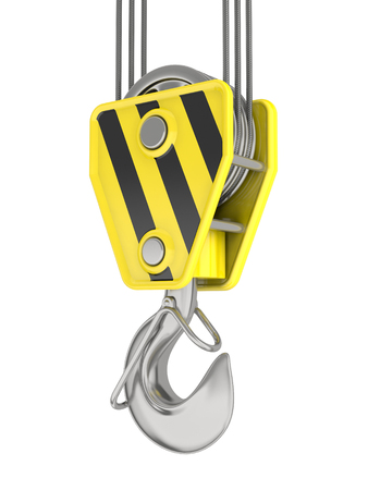hydraulic platform: Crane hook isolated on white.