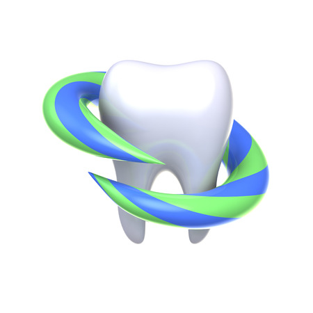 fluoride: Protection and health of teeth. 3d rendering.