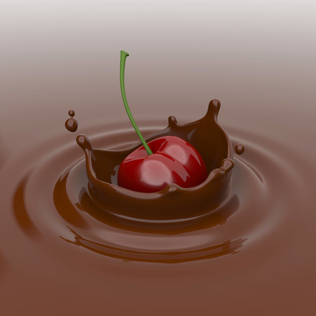 chocolate drops: Cherry falling in chocolate.