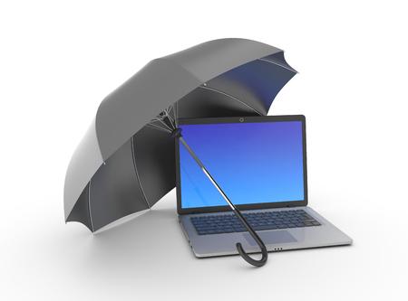 computer repairing: Laptop under an umbrella on white.