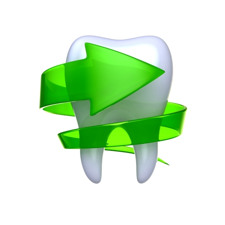 Tooth with green arrow isolated on white background.