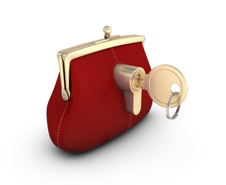 Red wallet with Golden key on white background.