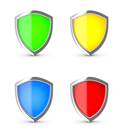 safeguards: Glossy shield on a white background. Stock Photo