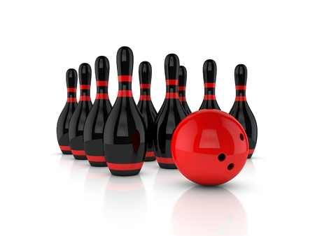 Black bowling skittles and red ball on white. 3d rendering.