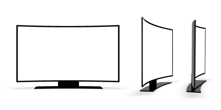 candid: Modern TV on a white background. 3d rendering.