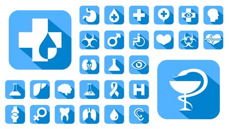 Blauwe medische pictogrammen set, vector knoppen. Vector Illustratie
