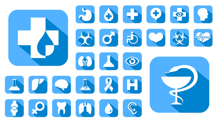 vector buttons: Blue Medical icons set, vector buttons. Illustration