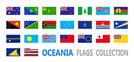 oceania: Flags Oceania collection. Vector illustration.