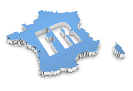 physical geography: Blue map of France on white. 3D rendering.