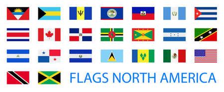 bandera de panama: Norteamérica colección de banderas. Ilustración del vector. Vectores