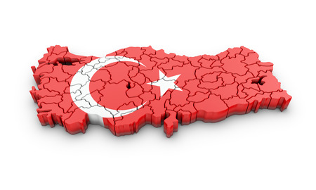 Map of Turkish on a white background. 3d rendering. Stock Photo