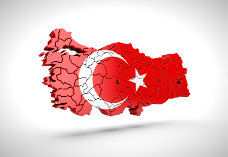 Map of Turkish on a grey background. 3d rendering.