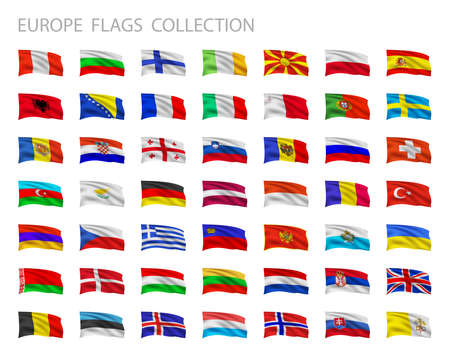 european flags: European flags collection. Vector set illustration.