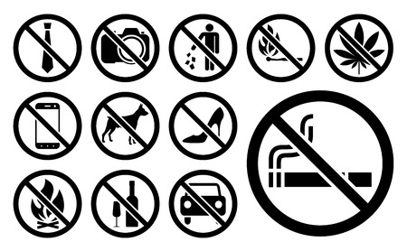 Prohibition signs black set. Vector illustration.