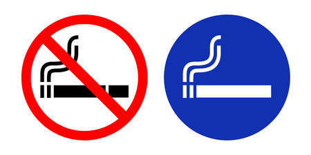 pernicious habit: No Smoking sign and Smoking area. Vector illustration. Illustration