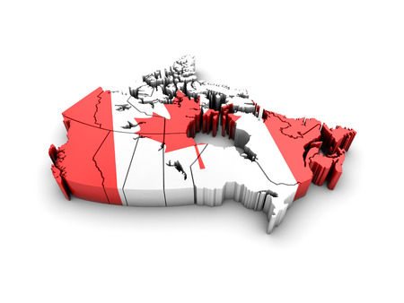 Canada map with flag on white background. 3d render. 스톡 콘텐츠