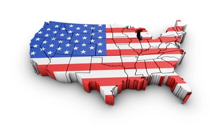 the americas: USA map with flag and shadow on white background. 3D rendering. Stock Photo