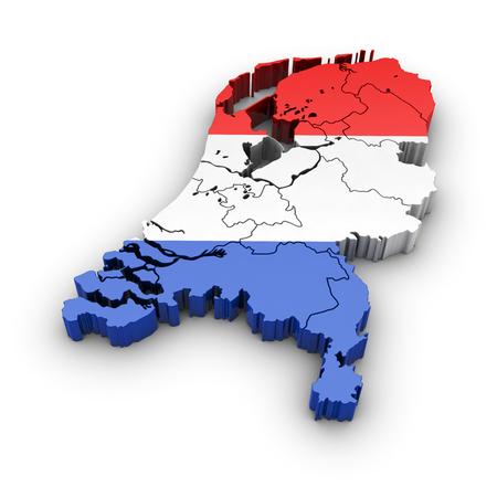 Nederland Kaart met een vlag en schaduw op een witte achtergrond. 3D-rendering. Stockfoto