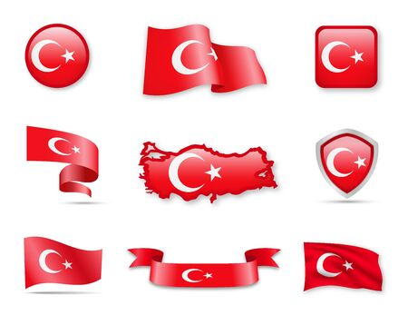 Turkey Flags Collection. Flags and maps. Vector illustration