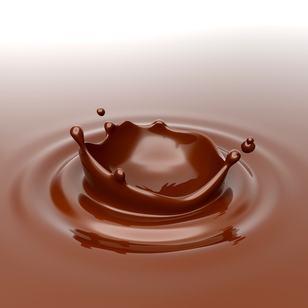 Splashes and a drop of chocolate. 3D rendering. Foto de archivo