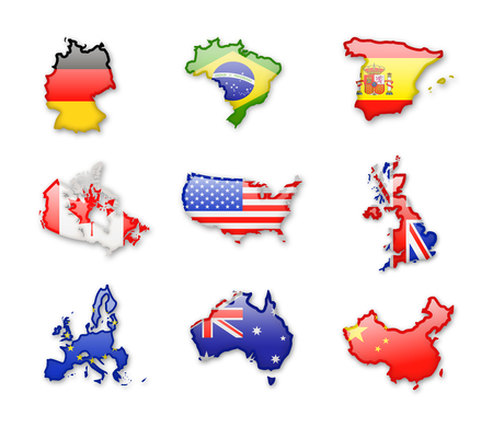 Collection of worlds largest countries flags isolated on white. Vector Icon set. 矢量图像