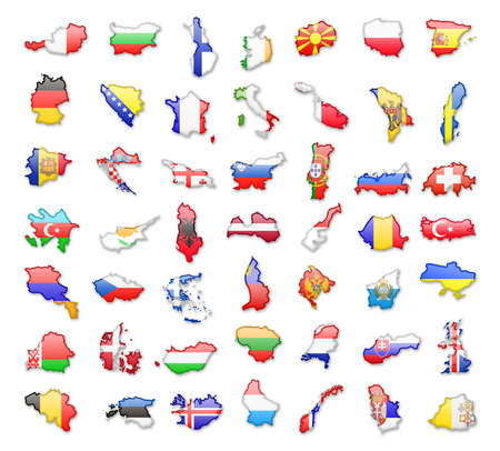 Flags of all European countries. Vector isolated silhouettes Illustration