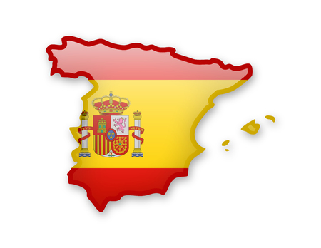 Flag of Spain and contour of the country on white background.