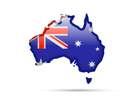 Flag of Australia and contour of the country on white background. Çizim