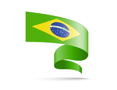 Flag of Brazil in the form of waving ribbons. Vector illustration on white background.