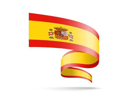 Winding Flag of Spain. Vector illustration on white. Иллюстрация
