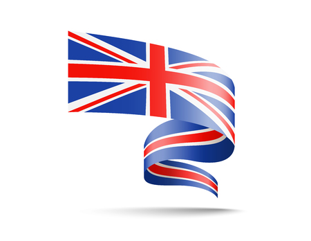 Flag of United Kingdom in the form of waving ribbons Vector illustration on white background.