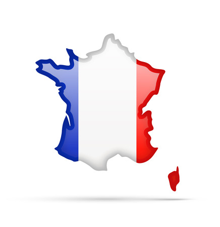 France flag and outline of the country on a white background.