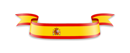 Flag of Spain in the form of waving ribbons. 矢量图像