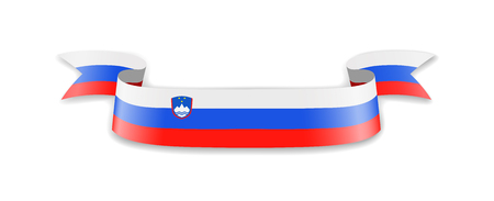 Slovenia flag in the form of wave ribbon. Vector illustration.