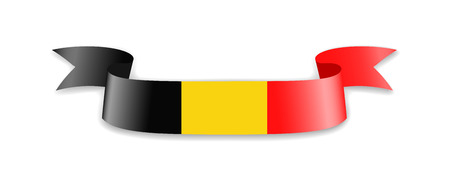 Belgium flag in the form of wave ribbon. Vector illustration.