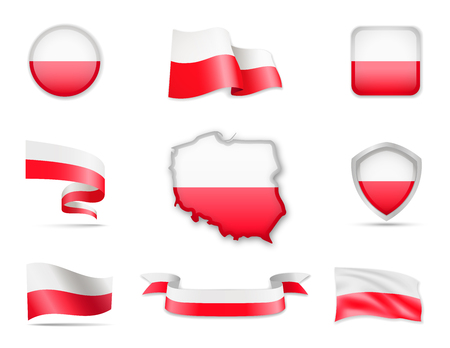 Poland Flags Collection. Flags and contour map. Vector illustration