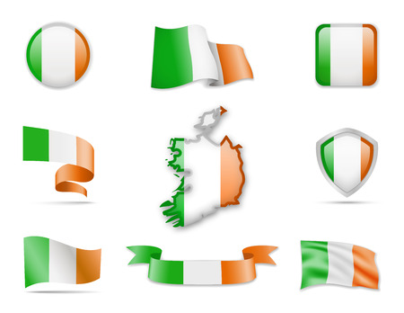 Ireland Flags Collection. Flags and contour map. Vector illustration. Illustration
